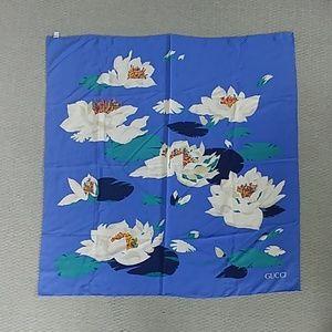Gucci vintage Floral Water Liliies silk scarf
